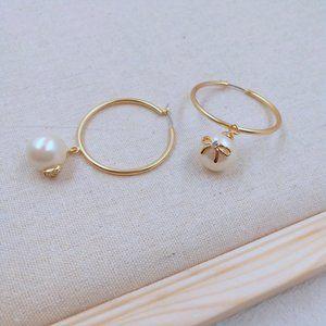 Kate Spade Hoop Earrings Zircon  Pearls Bow Love